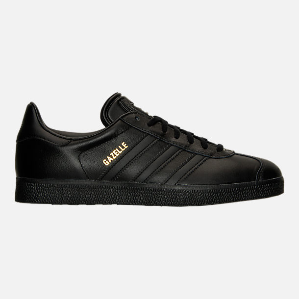 Right view of Men's adidas Gazelle Leather Casual Shoes in Core Black/Metallic Gold