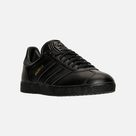 Three Quarter view of Men's adidas Gazelle Leather Casual Shoes in Core Black/Metallic Gold