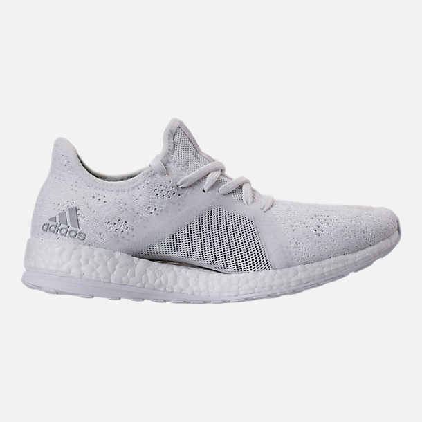 Right view of Women's adidas PureBOOST X Element Running Shoes in White/Grey/Green