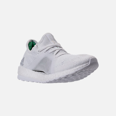 Three Quarter view of Women's adidas PureBOOST X Element Running Shoes in White/Grey/Green