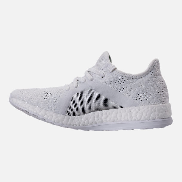 Left view of Women's adidas PureBOOST X Element Running Shoes in White/Grey/Green