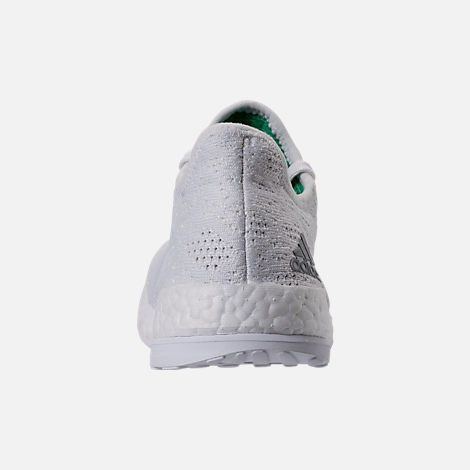 Back view of Women's adidas PureBOOST X Element Running Shoes in White/Grey/Green