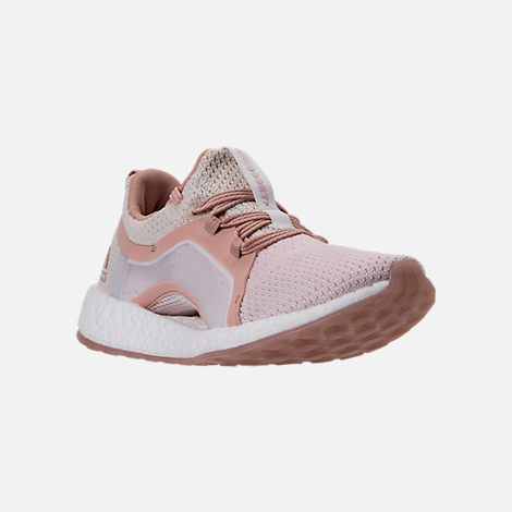 Three Quarter view of Women's adidas PureBOOST X Clima Running Shoes in White/Ash Pearl/Tint