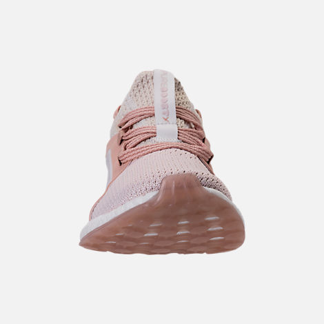 Front view of Women's adidas PureBOOST X Clima Running Shoes in White/Ash Pearl/Tint