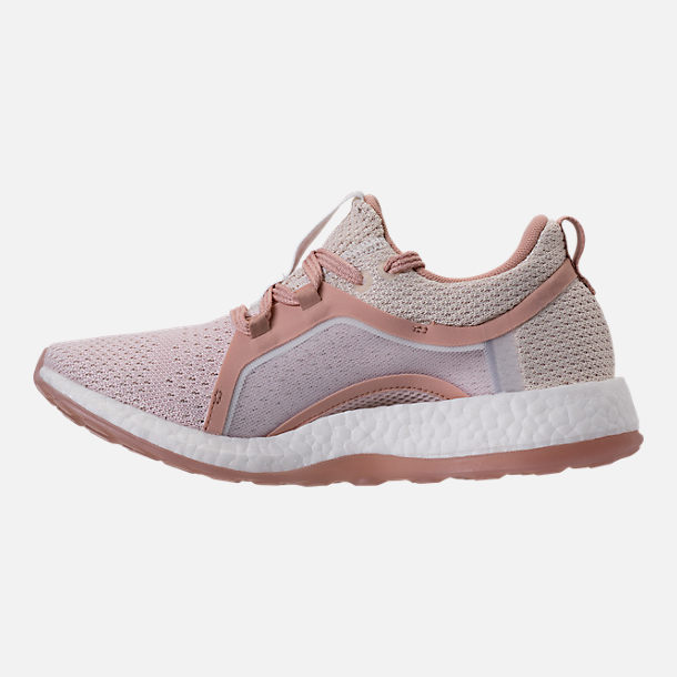Left view of Women's adidas PureBOOST X Clima Running Shoes in White/Ash Pearl/Tint