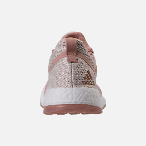 Back view of Women's adidas PureBOOST X Clima Running Shoes in White/Ash Pearl/Tint