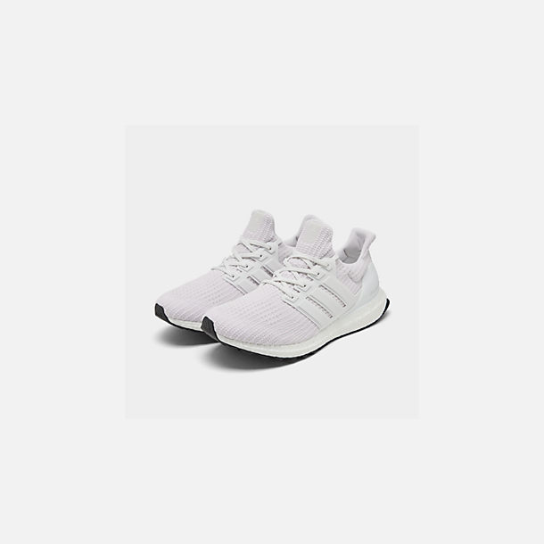 Three Quarter view of Men's adidas UltraBOOST Running Shoes in White/White/White