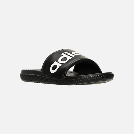 Three Quarter view of Men's adidas Voloomix Slide Sandals in Black/White/Black