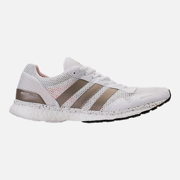 Right view of Women's adidas AdiZero Adios 3 Running Shoes in White/Cyber Metallic/Black