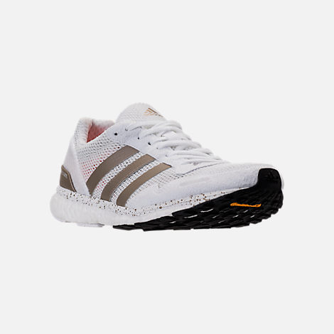 Three Quarter view of Women's adidas AdiZero Adios 3 Running Shoes in White/Cyber Metallic/Black