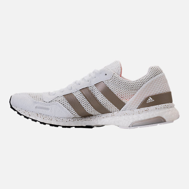 Left view of Women's adidas AdiZero Adios 3 Running Shoes in White/Cyber Metallic/Black