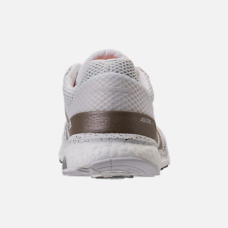 Back view of Women's adidas AdiZero Adios 3 Running Shoes in White/Cyber Metallic/Black