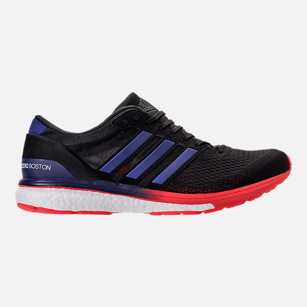 Right view of Men's adidas Adizero Boston 6 Running Shoes in Black/Real  Purple/