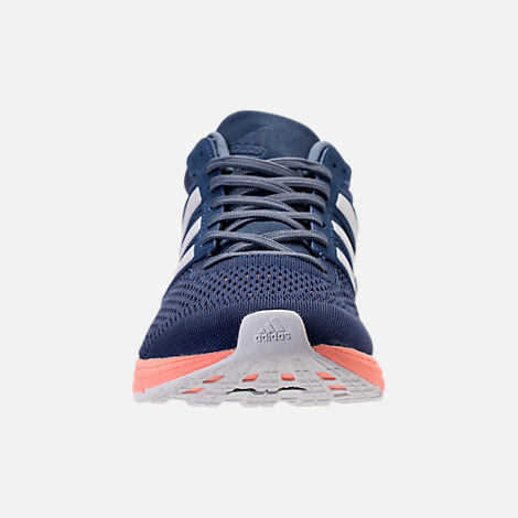 Front view of Women's adidas Adizero Boston 6 Running Shoes in Noble Indigo/White/Raw Steel