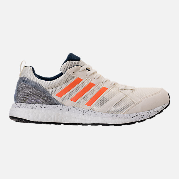 Right view of Men's adidas Adizero Tempo 9 Running Shoes in Off-White/Hi