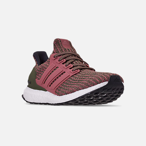 Three Quarter view of Women's adidas UltraBOOST 4.0 Running Shoes in Trace Maroon/Trace Maroon/Base