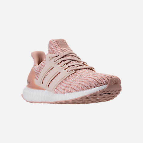 Three Quarter view of Women's adidas UltraBOOST Parley Running Shoes in Ash Pearl/Linen/Clear