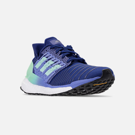 Three Quarter view of Women's adidas SolarBOOST Running Shoes in Mystery Ink/Clear Mint/Real Lilac