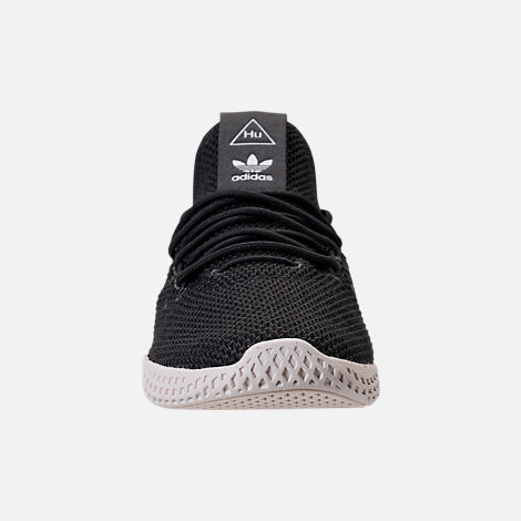 Front view of Boys' Preschool adidas Originals Pharrell Williams Tennis HU Casual Shoes in Carbon/Chalk White