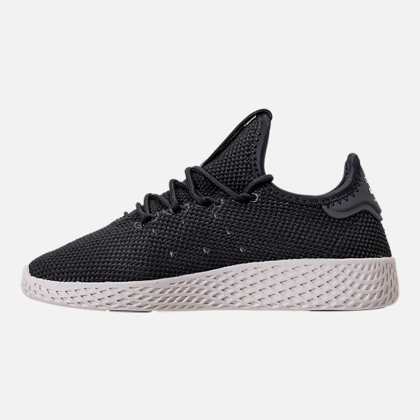Left view of Boys' Preschool adidas Originals Pharrell Williams Tennis HU Casual Shoes in Carbon/Chalk White