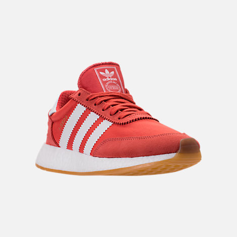 Three Quarter view of Women's adidas I-5923 Runner Casual Shoes in Trace Scarlet/White/Gum