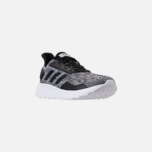 Three Quarter view of Men's adidas Duramo 9 Knit Running Shoes in Core Black/White