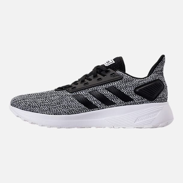 Left view of Men's adidas Duramo 9 Knit Running Shoes in Core Black/White