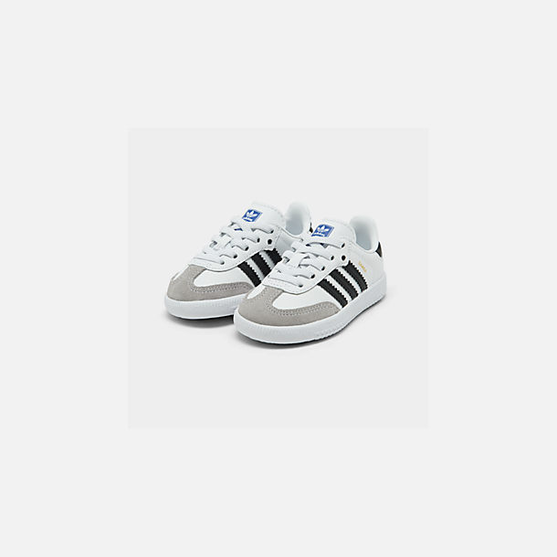 Three Quarter view of Kids' Toddler adidas Originals Samba Casual Shoes in White/Black