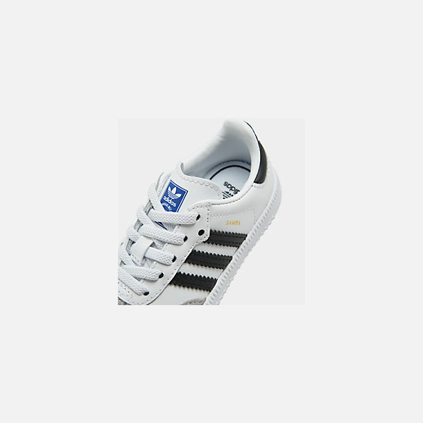 Front view of Kids' Toddler adidas Originals Samba Casual Shoes in White/Black
