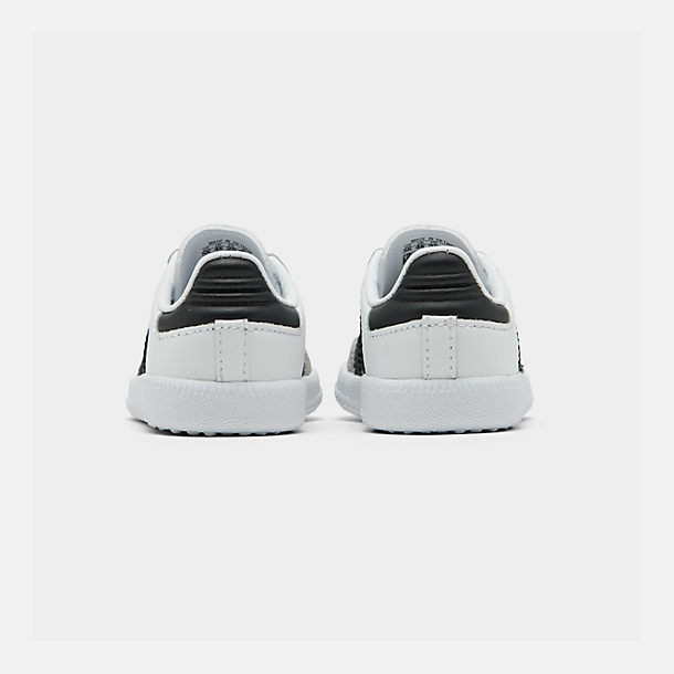 Left view of Kids' Toddler adidas Originals Samba Casual Shoes in White/Black