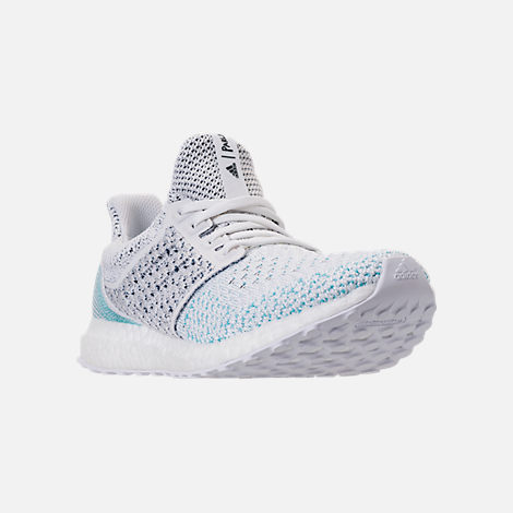Three Quarter view of Men's adidas UltraBOOST Clima x Parley Running Shoes in Footwear White/Blue