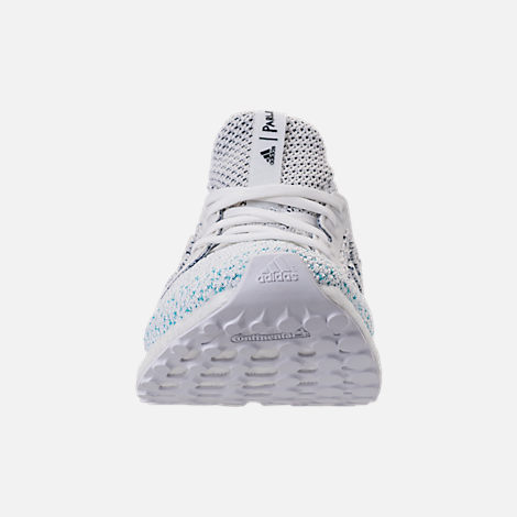 Front view of Men's adidas UltraBOOST Clima x Parley Running Shoes in Footwear White/Blue