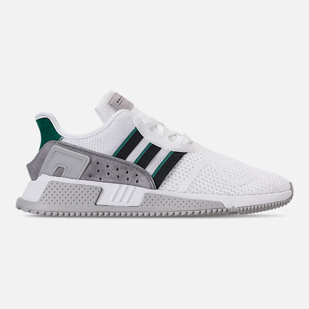 Right view of Men's adidas Originals EQT Cushion ADV Casual Shoes in Footwear White/Core Black/Green