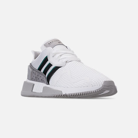 Three Quarter view of Men's adidas Originals EQT Cushion ADV Casual Shoes in Footwear White/Core Black/Green