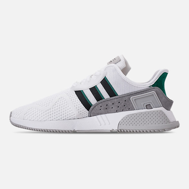 Left view of Men's adidas Originals EQT Cushion ADV Casual Shoes in Footwear White/Core Black/Green