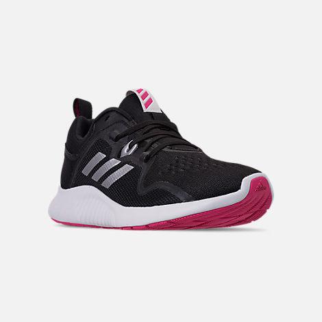 4b29c1b35 Three Quarter view of Women s adidas Edge Bounce Running Shoes in Core  Black White