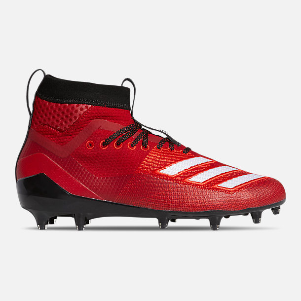 Right view of Men's adidas adizero Burner SK Football Cleats in Power Red/Cloud White/Core Black