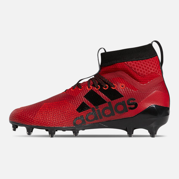 Left view of Men's adidas adizero Burner SK Football Cleats in Power Red/Cloud White/Core Black