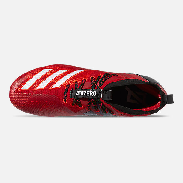 Top view of Men's adidas adizero Burner SK Football Cleats in Power Red/Cloud White/Core Black