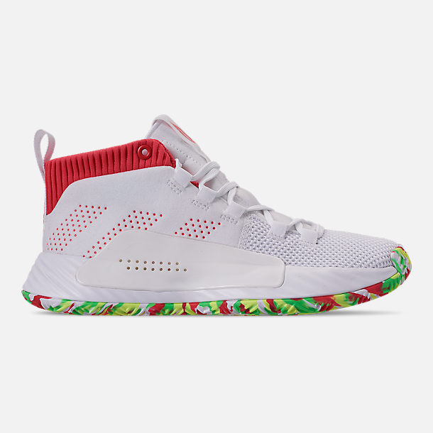 Right view of Boys' Big Kids' adidas Dame 5 Basketball Shoes in Footwear White/Shock Red/Hi-Res Yellow