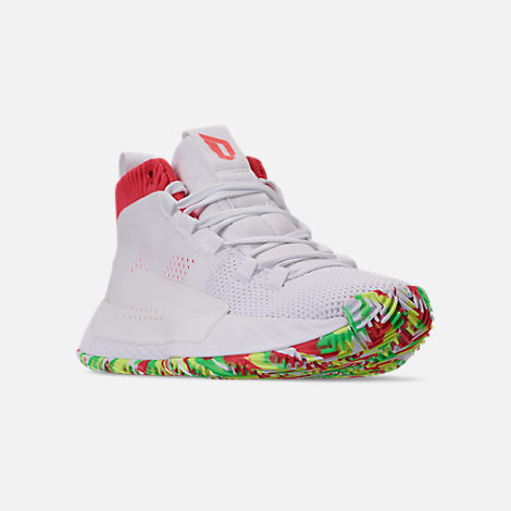 Three Quarter view of Boys' Big Kids' adidas Dame 5 Basketball Shoes in Footwear White/Shock Red/Hi-Res Yellow