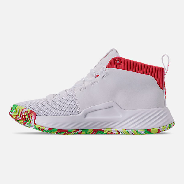 Left view of Boys' Big Kids' adidas Dame 5 Basketball Shoes in Footwear White/Shock Red/Hi-Res Yellow