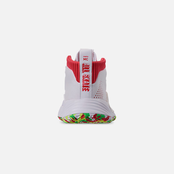 Back view of Boys' Big Kids' adidas Dame 5 Basketball Shoes in Footwear White/Shock Red/Hi-Res Yellow