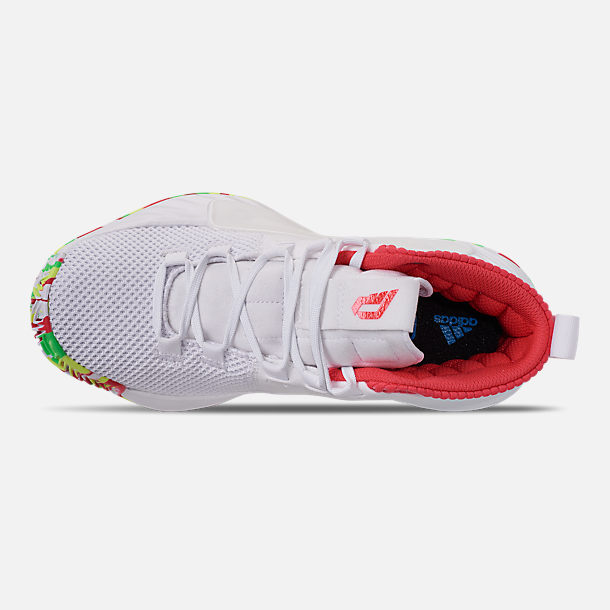 Top view of Boys' Big Kids' adidas Dame 5 Basketball Shoes in Footwear White/Shock Red/Hi-Res Yellow