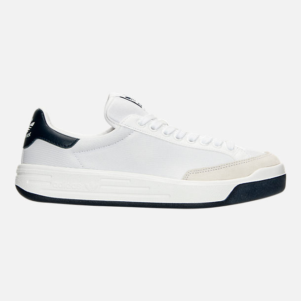 Right view of Men's adidas Originals Rod Laver Casual Shoes in White/White/Navy