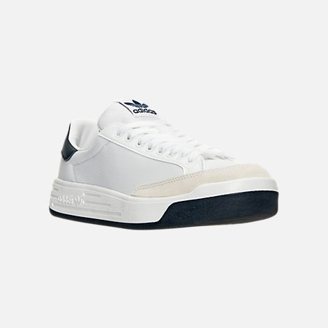 Three Quarter view of Men's adidas Originals Rod Laver Casual Shoes in White/White/Navy