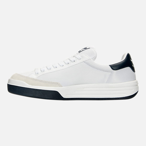 Left view of Men's adidas Originals Rod Laver Casual Shoes in White/White/Navy