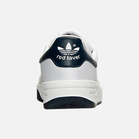 Back view of Men's adidas Originals Rod Laver Casual Shoes in White/White/Navy