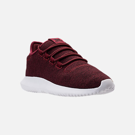 Three Quarter view of Men's adidas Tubular Shadow 3D Knit Casual Shoes in Collegiate Burgundy/Core Black/White