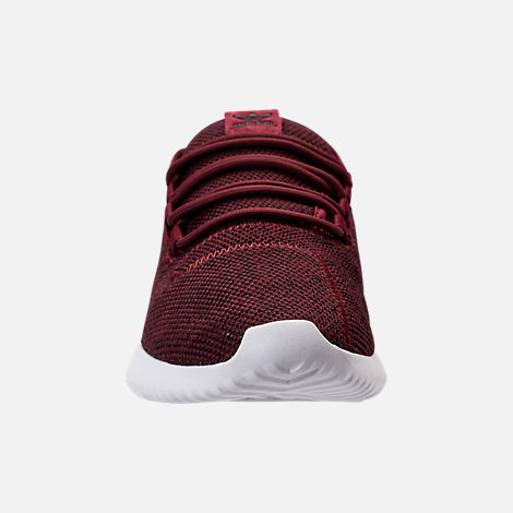 Front view of Men's adidas Tubular Shadow 3D Knit Casual Shoes in Collegiate Burgundy/Core Black/White